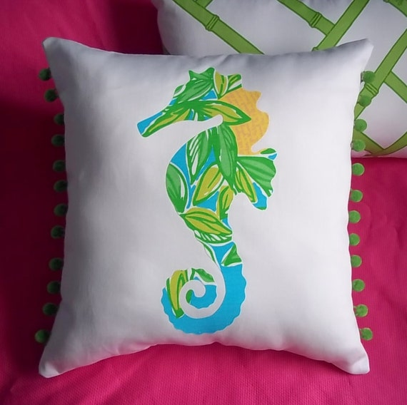 SALE!! New custom Seahorse Pillow made with Your Choice of over 20 new AUTHENTIC Lilly Pulitzer fabrics