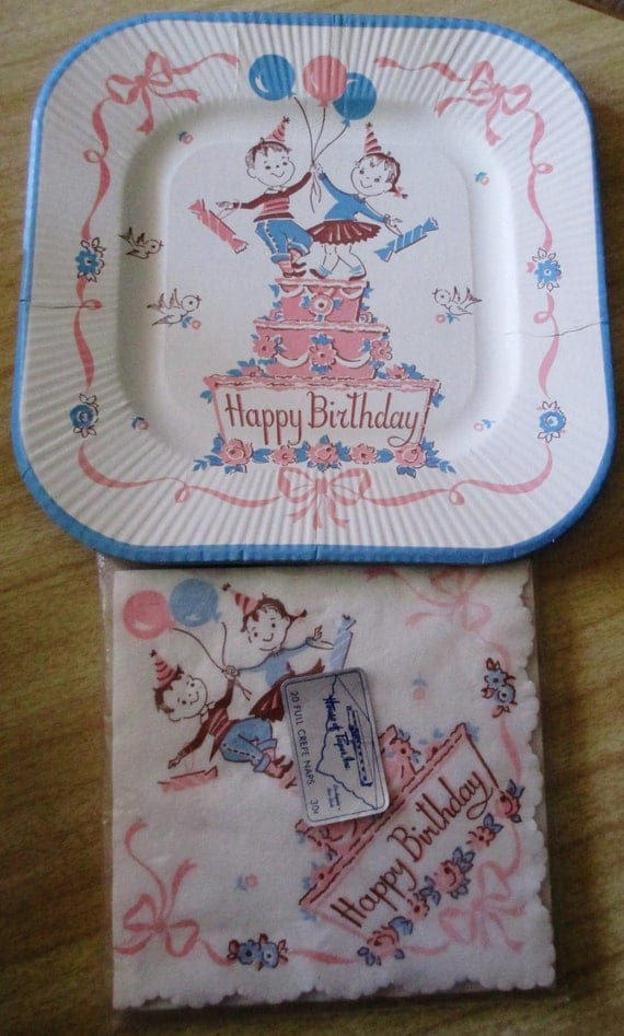 House of Paper , Inc - Paper napkins and Paper Plates Birthday Design - 1950s