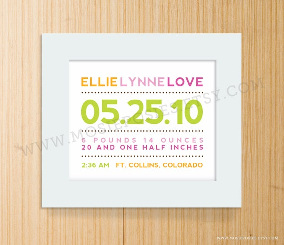 Modern Typography Birth Announcement Print - Horizontal