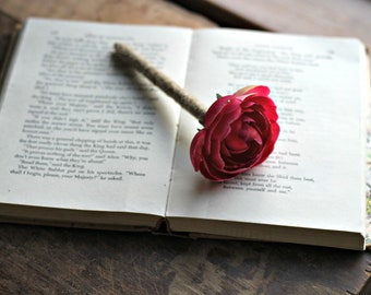 Rustic Guest Book Pen- Hot Pink Ranunculus