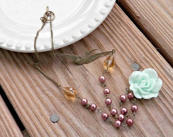 Fly Away - Vintage Inspired Rose Necklace