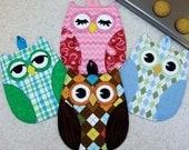 PATTERN HOT OWL Hot Pads Potholders Full sized templates