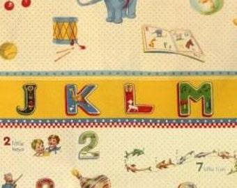 "Last piece Clearance FABRIC SCHOOL NURSERY abc 123 Border Print Fabric for Baby 24"" long piece"