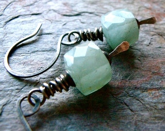 Aquamarine Sterling Silver Cube Earrings