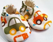 ORGANIC Cotton Baby Shoes, Ready, Set, Go Cars