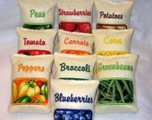 Play pretend felt bags of  fruits and vegetable buy 1 or complete set of 10 #2548