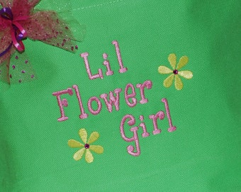 Personalized small  flower girl tote or ring bearer gift wedding craft travel tote