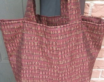 Fabric Grocery Market Carry-all Tote Bag   Rust Gold Black Geometric