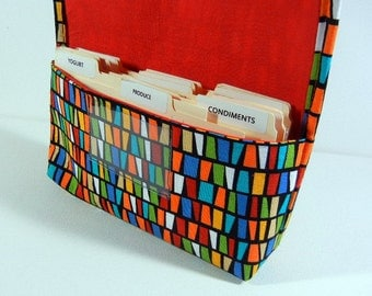 Ready to ship Coupon Holder Organizer Multi colored Candy Corn Red Lining