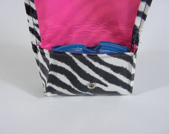Grocery Card Carrier, Credit Card Wallet, Business Card Holder, Gift Card Holder Waterproof Zebra with Hot Pink Lining
