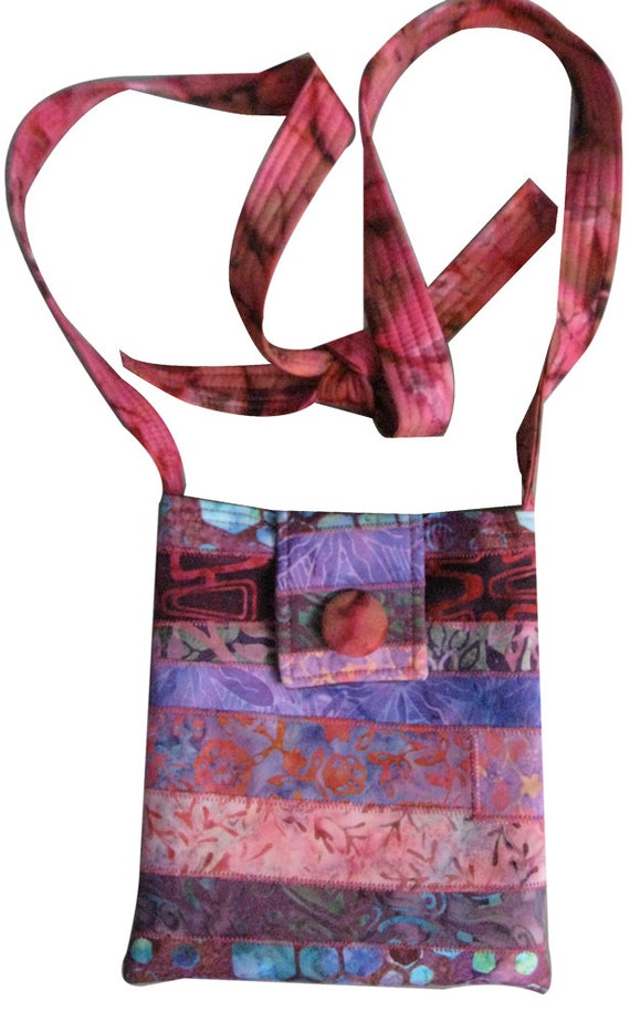 Hip Purse in Pink and Purple Batiks