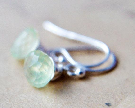 Primrose Earrings Gemstone Jewelry Prehnite Mint Green Dangle