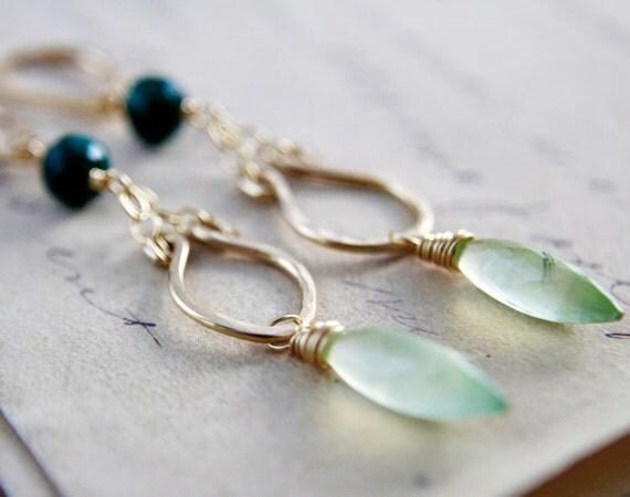 Roman Earrings Gold Prehnite Emerald Dangle Green