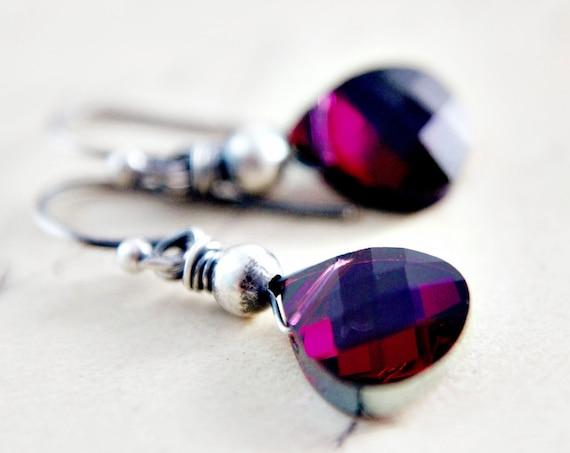 Crystal Earrings Garnet Red Silver Red Dangle
