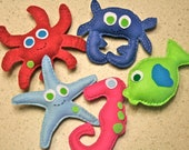 Nautical bright colored hand sewn felt plushies from the sea :0) Set of 5
