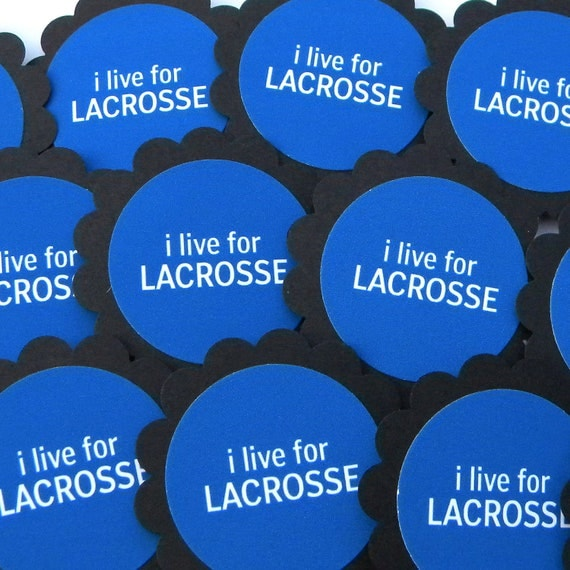 I Live for Lacrosse Cupcake Toppers, Set of 12, Black, Blue