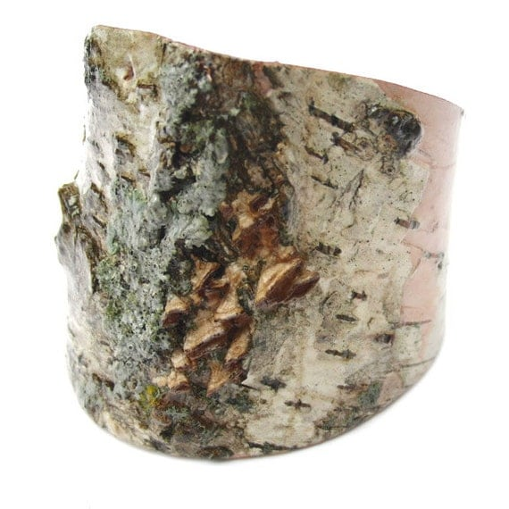 Birch bark bracelet with lichen and mushrooms, Petite Mushrooms