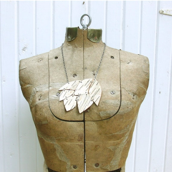 Birch bark necklace, Small Cluster