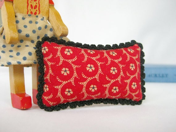 Picca-Little Miniature Doll Pillow - Cozy Crochet in Vintage Red