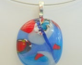 Fused glass pendant- blue, red, and white