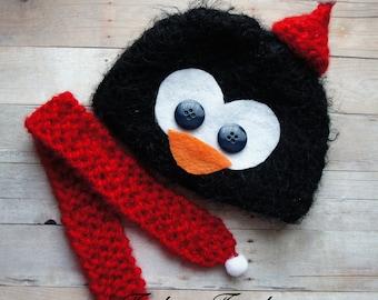 Newborn Baby Hat and Scarf Set, Newborn Photo Prop Little Penguin Baby Hat, Baby Photo Prop