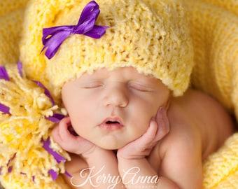 SALE Baby Hat, Newborn Hat, Newborn Knit Hat, Yellow Stocking Pixie Baby Hat, Baby Photo Prop