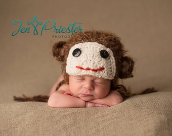 Baby Hat, Newborn Baby Hat, Lil' Monkey Hat, Newborn Photo Prop, Knit Baby Hat, Photography Prop