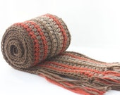 Men's  Scarf, Wool, Alpaca Brown Striped Scarf,   Crocheted Scarf,  Unisex,  Brown, Rust Stripes
