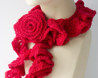 Crochet Red Ruffled Scarf with Flower Scarf Pin