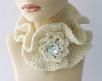 White Knit Neck Warmer  Flower,  Ruffled Scarf , Neckwarmer, Cowl, Gift for Her