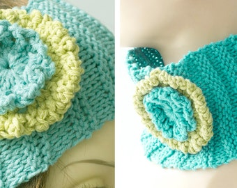 SALE, Flower Headband, Knit Ear Warmers, Autumn Head Band,  Pony Tail Hat,  Turquoise Chartreuse  Neck Warmer, Ready to Ship