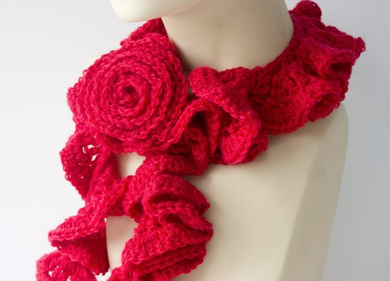 Ruffled Scarf with Flower Scarf Pin, Crochet Scarf,  Red Scarf, Ruffle Wool Crocheted  Scarf