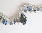 OOAK One Black and Blue Bat Beaded Charm Bracelet