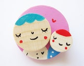 Maternity wooden brooch, hand painted brooch mother and child