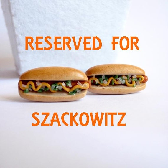 Reserved Listing for Szackowitz - Hot Dog Cufflinks - Miniature Food Art Jewelry Collectable - Schickie Mickie Original