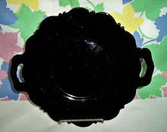 SALE! Vintage Black Glass Salad Tray Handled Plate