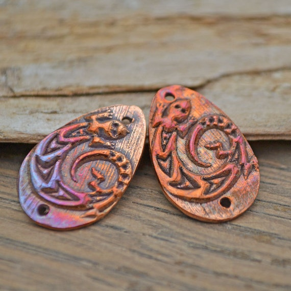 Handmade Copper Gekko Drops Component pair