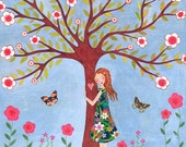 Love Nature Girl Art Block Whimsical Folk Art Painting