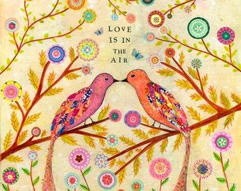 Love Art Print, Love Birds Art Print, Romantic Art, Bird Decor, Pastel Art Print, Mixed Media Bird Collage, Pastel Wall Art, Bird Wall Art