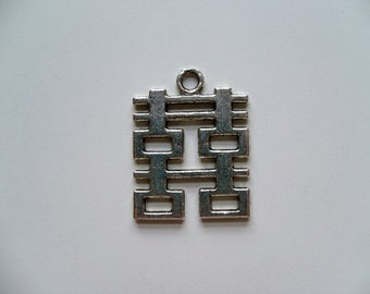 DOUBLE HAPPINESS CHARM Silverplate/Silver Charms/Chinese Charms/Asian Charms