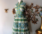 60s Dress / 1960s Dress / Vintage 1960s Blue Green and White Floral Print Chiffon Dress by Avalon Classic M