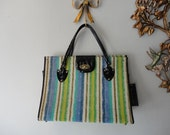 Vintage Late 1950s Blue and Green Striped Matching Handbag and Sunglasses with Case by Toni Todd