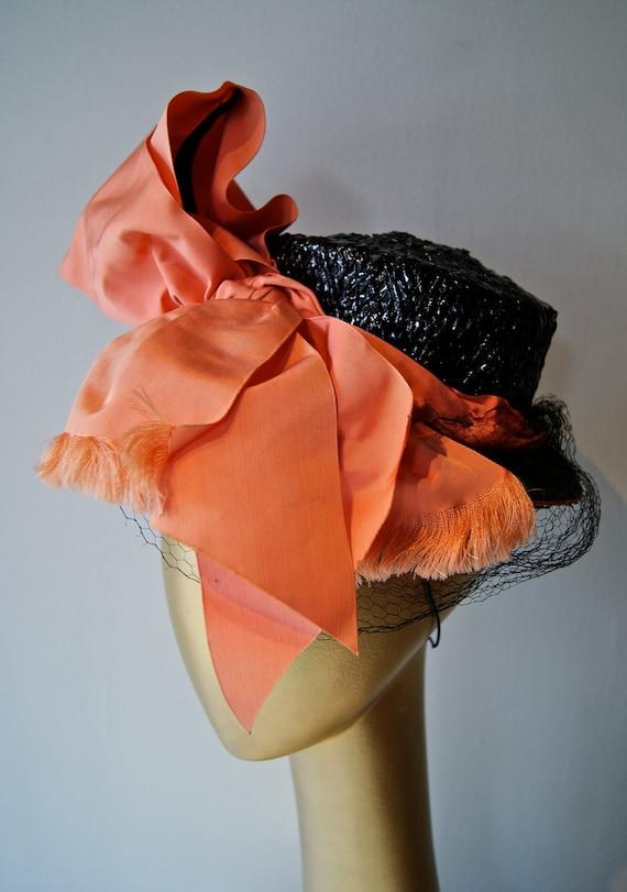 Vintage Hat // Vintage 1930s Straw Tilt Hat with Huge Coral Bow by Francois Modes