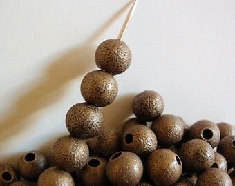 50 Stardust Beads, 8 mm, Jewelry Supply, Round Antique Bronze Plated Brass