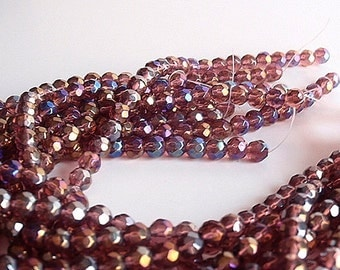 98 Glass Beads, jewelry making Supply, beautiful Faceted Round Glass Aurora Borealis Plated beads, 6mm