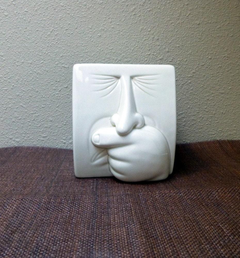 Vintage Fitz  U0026 Floyd Sneezing Man Tissue Box Cover Ceramic