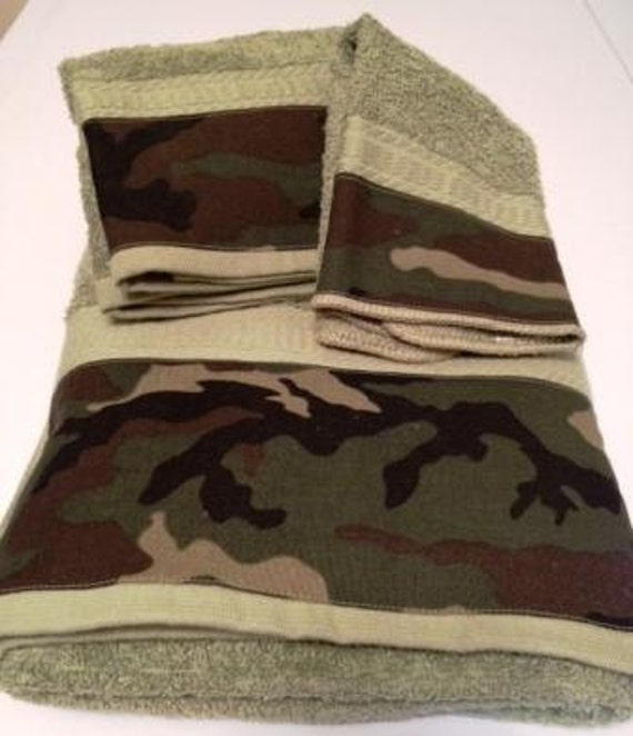 camouflage towel set by mytimecreations on etsy,