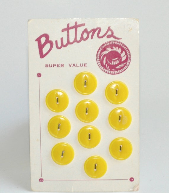 Vintage 1950s Sunny Yellow Buttons