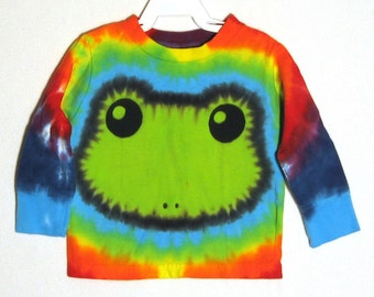 Happy Green Tree Frog Tie Dye Long Sleeved Shirt Size 2