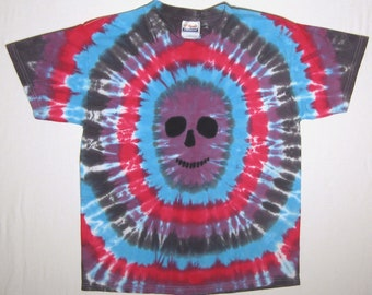 Purple Skull Tie Dye Shirt Youth XL